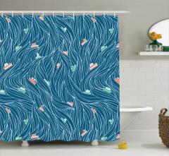Dalga ve Gemi Desenli Duş Perdesi Lacivert Deniz