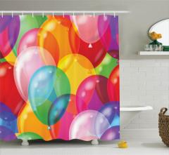 Çocuklar İçin Duş Perdesi Rengarenk Balon Desenli