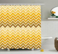 Zikzak Desenli Duş Perdesi Sarı Şık Tasarım Trend