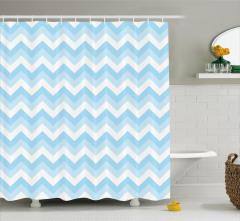 Zikzak Desenli Duş Perdesi Mavi Beyaz Şık Tasarım
