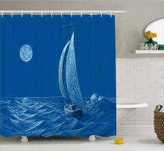Ay Dalga ve Yelkenli Desenli Duş Perdesi Denizcilik