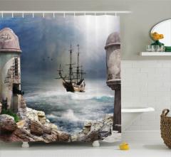Korsan Gemisi ve Kale Desenli Duş Perdesi Nostaljik