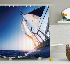 Yelkenli ile Güneşli Bir Gün Temalı Duş Perdesi Mavi