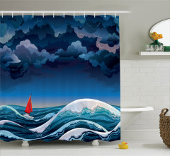 Fırtına ve Yelkenli Desenli Duş Perdesi Mavi Beyaz