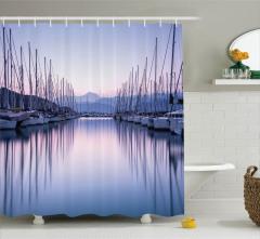 Marinadaki Yelkenliler Temalı Duş Perdesi Simetrik