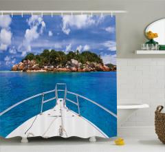 Palmiyeli Ada ve Tekne Temalı Duş Perdesi Tropikal