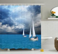 Fırtına Bulutları ve Tekne Temalı Duş Perdesi Deniz