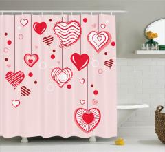 Pembe Duş Perdesi Romantik Kalp Desenleri Kırmızı