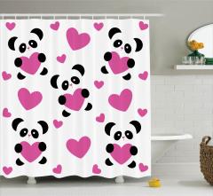 Aşk Pandaları Temalı Duş Perdesi Pembe Siyah Beyaz