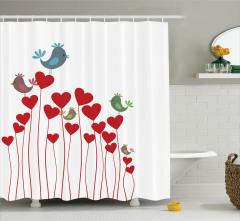 Aşk Temalı Duş Perdesi Kuşlar Kalpler Kırmızı Beyaz