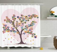 Aşk Ağacı Temalı Duş Perdesi Rengarenk Kalp Desenli