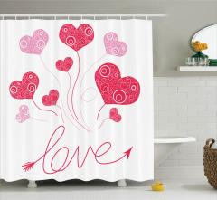 Aşk Temalı Duş Perdesi Kalpli Balonlar Desenli Pembe