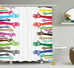 Sevgililer Temalı Duş Perdesi Renkli Buluşan Eller