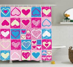 Pembe Duş Perdesi Mavi Beyaz Kalp Desenleri Aşk