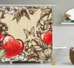 Aşk Temalı Duş Perdesi Çiçek ve Kalp Desenli Bej