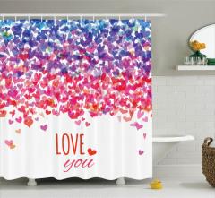 Aşk Temalı Duş Perdesi Pembe Kırmızı Mor Kalpler