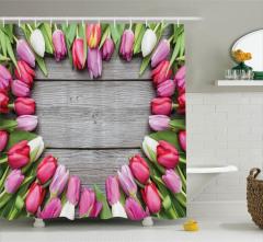 Romantik Çiçek Buketi Desenli Duş Perdesi Aşk Temalı