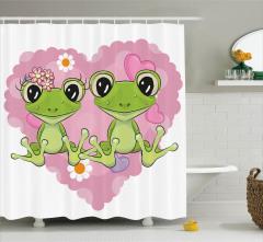 Çocuklar için Duş Perdesi Aşık Kurbağalar Pembe