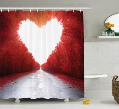 Romantik Aşk Yolu Manzaralı Duş Perdesi Sonbahar