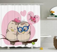 Çocuklar için Duş Perdesi Aşık Baykuşlar Pembe Beyaz