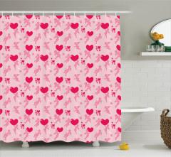 Pembe Duş Perdesi Aşk Temalı Eros Kırmızı Kalpli