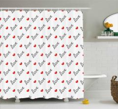 Beyaz Duş Perdesi Aşk Temalı Kırmızı Kalpli Romantik