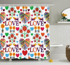 Aşk Temalı Duş Perdesi Rengarenk Kalpler Aşık Kuşlar