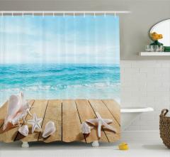Deniz ve Sahil Desenli Duş Perdesi Yaz Esintili