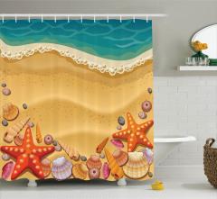 Kumsal ve Deniz Yıldızı Desenli Duş Perdesi Çocuk