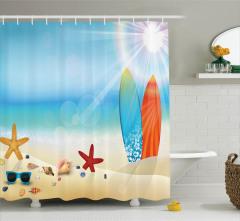 Sörf Deniz ve Kumsal Desenli Duş Perdesi Bej Mavi