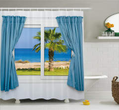 Pencereden Deniz Manzaralı Duş Perdesi Beyaz Mavi