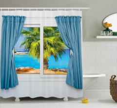 Pencereden Deniz ve Palmiye Temalı Duş Perdesi Mavi