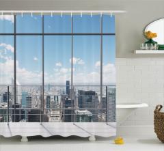 Pencere ve Gökdelen Temalı Duş Perdesi Modern Dizayn