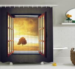 Pencereden Kır ve Kuş Manzaralı Duş Perdesi Sarı