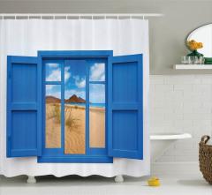 Pencereden Kumsal ve Deniz Temalı Duş Perdesi Mavi