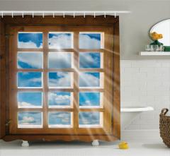 Pencere ve Gökyüzü Temalı Duş Perdesi Ahşap ve Mavi