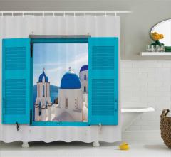 Pencereden Kilise Manzaralı Duş Perdesi Beyaz Mavi
