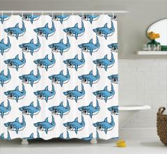 Kızgın Köpek Balığı Desenli Duş Perdesi Mavi Beyaz