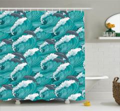 Yunus ve Dalga Desenli Duş Perdesi Sanatsal Tasarım