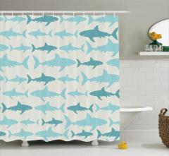 Mavi Köpek Balığı Temalı Duş Perdesi Beyaz Arka Plan