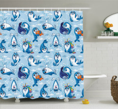 Sevimli Mavi Fok Desenli Duş Perdesi Çocuklar İçin