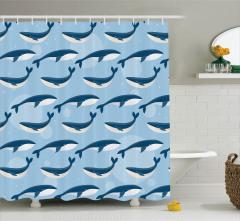 Mavi Beyaz Balina Desenli Duş Perdesi Mavi Fonlu
