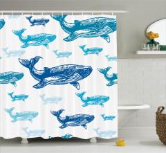 Mavi Balina Desenli Duş Perdesi Beyaz Arka Planlı