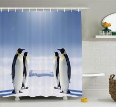 İmparator Penguen Desenli Duş Perdesi Dekoratif