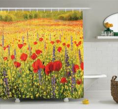 Gelincik ve Kır Çiçekleri Desenli Duş Perdesi Sarı