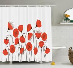 Gelincik Çiçeği Desenli Duş Perdesi Şık Tasarım