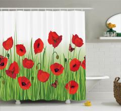Gelincik Çiçeği ve Kelebek Desenli Duş Perdesi Şık