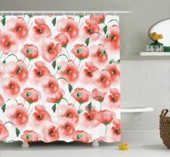 Gelincik Çiçeği Desenli Çeyizlik Duş Perdesi Pembe