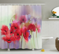 Pembe Gelincik Desenli Duş Perdesi Çeyizlik Çiçek