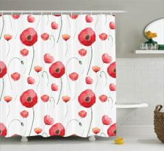 Çiçek Desenli Çeyizlik Duş Perdesi Kırmızı Gelincik